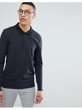 Selected Homme Longsleeve Polo With Contrast Collar - Grey
