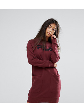 Fila Petite Oversized Jumper Dress With Logo And Pocket Detail - Red