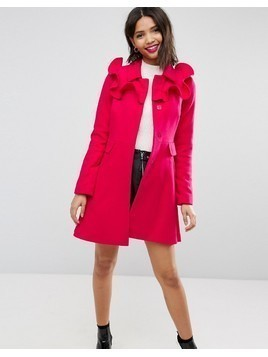 ASOS Skater Coat with Frills - Pink