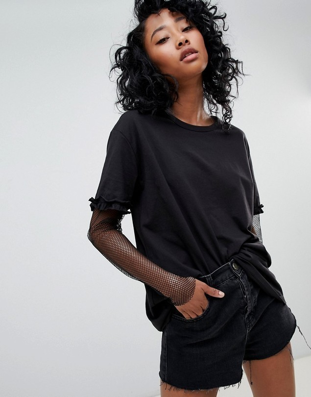 Noisy May Bianco Long Sleeved T-Shirt with Mesh Underlay - Black