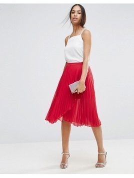 ASOS Pleated Midi Skirt with Wrap Front Detail - Red
