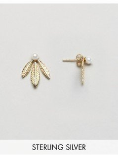 ASOS Gold Plated Sterling Silver Faux Pearl&Leaf Swing Earrings - Gold