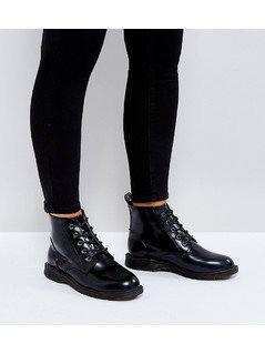Truffle Collection Wide Fit Lace Up Ankle Boots - Black