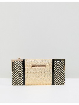 River Island Mixed Weave Zip Top Purse - Gold