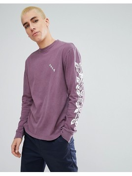 Obey Olde Rose Long Sleeve T-Shirt In Dusty Purple - Purple