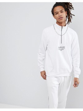 Parlez 1/4 Zip Sweat With Embroidered Logo In White - White