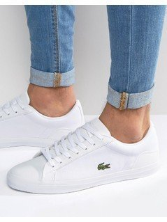 Lacoste Lerond Canvas Trainers in White - White