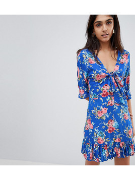 Parisian Tall Floral Tea Dress With Tie Front - Blue
