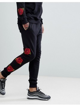 Criminal Damage Skinny Rose Joggers In Black - Black