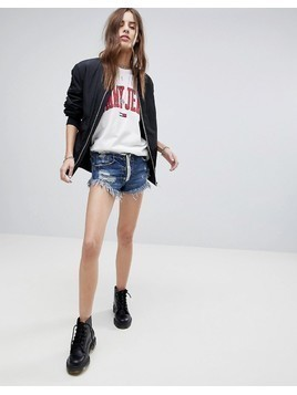 Signature 8 Denim Shorts with Exposed Contrast Zip - Blue