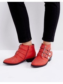 Truffle Collection Western Stud Buckle BootS - Red