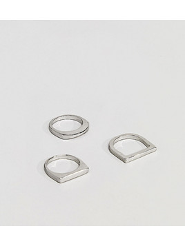DesignB Silver Geo Rings In 3 Pack Exclusive To ASOS - Silver