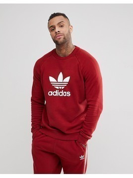 adidas Originals adicolor Trefoil Logo Sweat In Burgundy CX1897 - Red