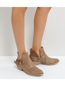 Qupid Western Trim Boot - Beige