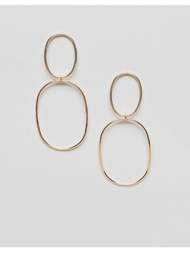 ASOS Statement Double Hoop Ball Drop Earrings - Gold