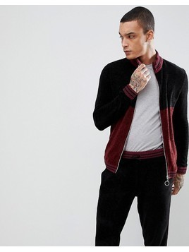 ASOS Knitted Co-ord Chenille Track Jacket With Stripe In Burgundy - Multi