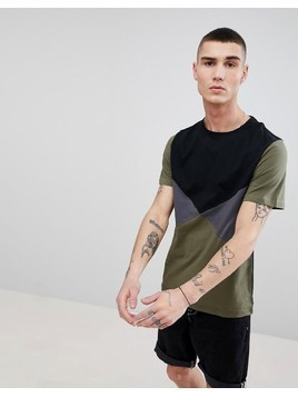 Another Influence Diamond Colour Block T-Shirt - Black