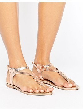 New Look Leather Plaited Sandal - Pink