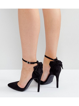 New Look Bow Back Pointed Heeled Shoes - Black