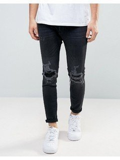 Pull&Bear Skinny Carrot Fit Jeans With Rip And Repair Detail In Black - Black