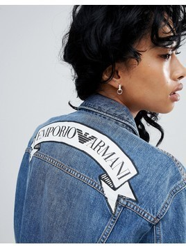 Emporio Armani Statement Banner Logo Denim Jacket - Blue