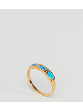 ASOS DESIGN Gold Plated Sterling Silver Faux Turquoise Stone Ring - Gold