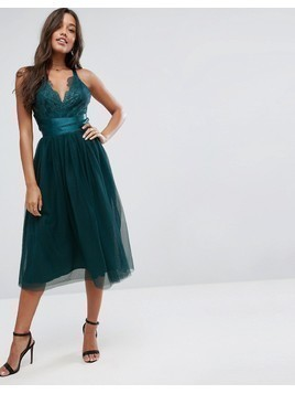 ASOS PREMIUM Lace Top Tulle Midi Prom Dress with Ribbon Ties - Green