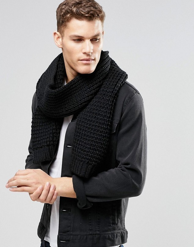 ASOS Knitted Scarf In Black - Black