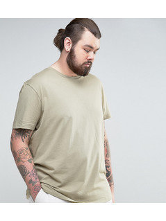 ASOS PLUS Longline T-Shirt With Crew Neck - Beige