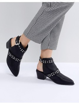 Miss Selfridge Backless Studded Western Ankle Boots - Black