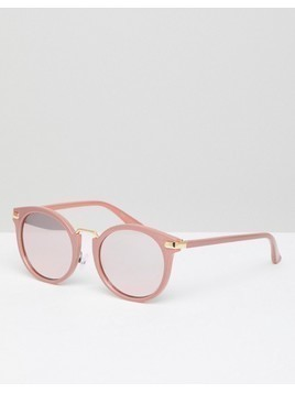 Missguided Round Reflective Sunglasses - Pink