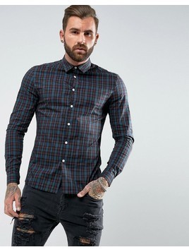 ASOS Skinny Fit Check Shirt In Navy - Navy