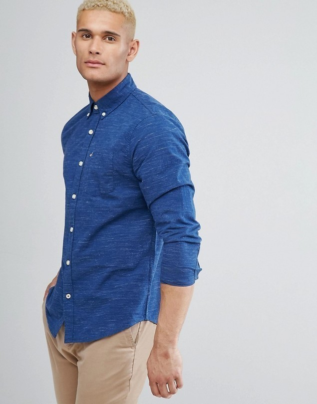 Hollister Logo Pocket Textured Slim Fit Shirt in Navy - Navy