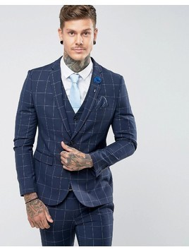 Harry Brown Skinny Blue Grid Suit Jacket - Blue