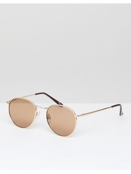 ASOS DESIGN 90s metal round sunglasses in gold - Gold