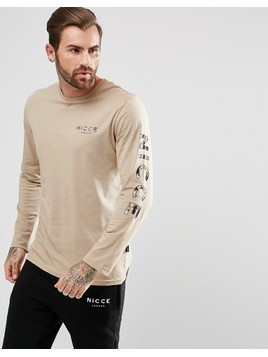 Nicce London Long Sleeve T-Shirt With Camo Sleeve Logo - Stone