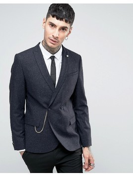 Noose&Monkey Super Skinny DB Blazer with Chain In Fleck - Navy