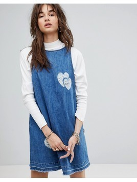 Love Moschino Distressed Pinny Denim Dress - Blue