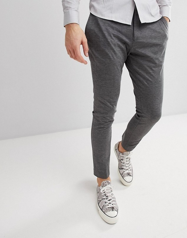 Selected Homme Slim Fit Jersey Suit Trousers - Grey