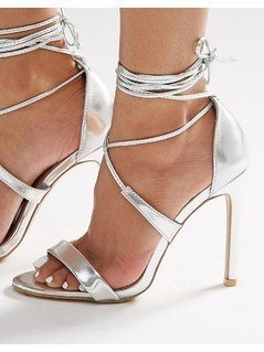 True Decadence Silver Metallic Ankle Tie Heeled Sandals - Silver