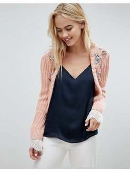 ASOS DESIGN trophy cardigan with embellishment and lace back - Pink