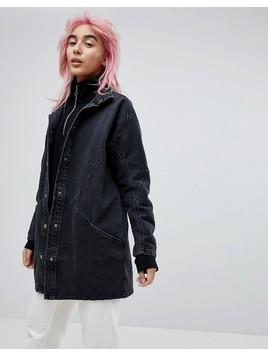 ASOS DESIGN denim batwing jacket in washed black - Black