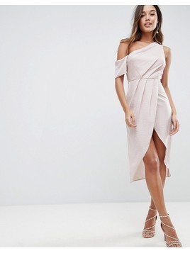 ASOS One Shoulder Midi Dress in Hammered Satin - Pink