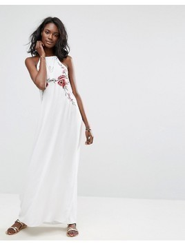 Boohoo Embroidered Halter Neck Maxi Dress - White