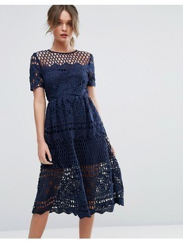 Boohoo Corded Lace Panelled Skater Dress - Navy