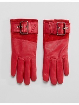 River Island Leather Faux Fur Lined Red Glove - Red