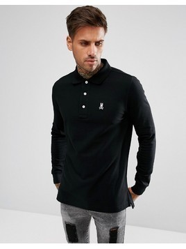 Psycho Bunny Classic Long Sleeve Polo Regular Fit in Black - Black