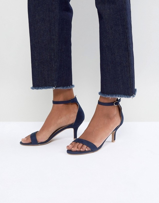 Glamorous Navy Barely There Kitten Heeled Sandals - Navy
