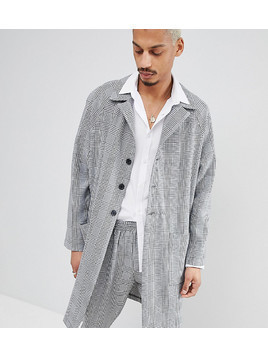 Milk It duster jacket in check - Grey