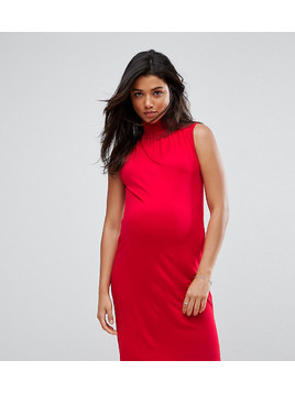 ASOS Maternity Shift Dress with Shirred Neck - Red